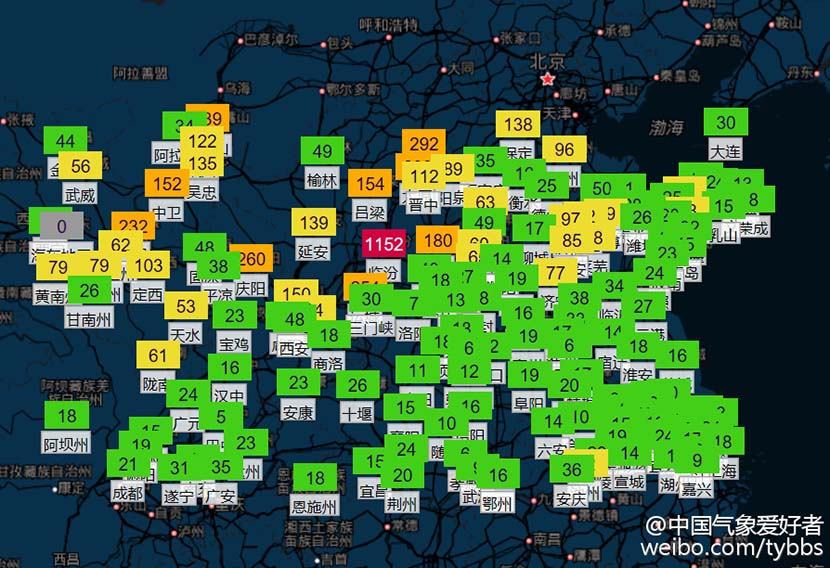 A map shows sulfur dioxide levels across China. Levels in Linfen, Shanxi province, reached 1,152 micrograms per cubic meter on Jan. 4, 2017. @zhongguoqixiangaihaozhe from Weibo