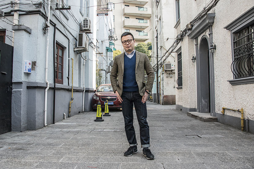Xu Yu poses for a photo outside his studio in Shanghai, March 9, 2017. Beatrice Di Caro/Sixth Tone